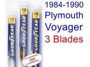 1984-1990 Plymouth Voyager Replacement Wiper Blade Set/Kit (Set of 3 Blades) (1985,1986,1987,1988,1989)