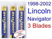 1998-2002 Lincoln Navigator Replacement Wiper Blade Set/Kit (Set of 3 Blades) (1999,2000,2001)