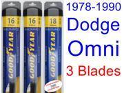 1978-1990 Dodge Omni Replacement Wiper Blade Set/Kit (Set of 3 Blades) (Goodyear Wiper Blades-Assurance) (1979,1980,1981,1982,1983,1984,1985,1986,1987,1988,1989