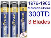 1979-1985 Mercedes-Benz 300TD Replacement Wiper Blade Set/Kit (Set of 3 Blades) (Goodyear Wiper Blades-Assurance) (1980,1981,1982,1983,1984)