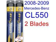 2008-2009 Mercedes-Benz CL550 Replacement Wiper Blade Set/Kit (Set of 2 Blades) (Goodyear Wiper Blades-Assurance)