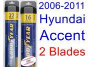 2006-2011 Hyundai Accent Replacement Wiper Blade Set/Kit (Set of 2 Blades) (Goodyear Wiper Blades-Assurance) (2007,2008,2009,2010)