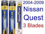 2004-2009 Nissan Quest Replacement Wiper Blade Set/Kit (Set of 3 Blades) (Goodyear Wiper Blades-Assurance) (2005,2006,2007,2008)