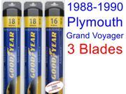 1988-1990 Plymouth Grand Voyager Replacement Wiper Blade Set/Kit (Set of 3 Blades) (Goodyear Wiper Blades-Assurance) (1989)