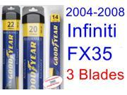 2004-2008 Infiniti FX35 Replacement Wiper Blade Set/Kit (Set of 3 Blades) (Goodyear Wiper Blades-Assurance) (2005,2006,2007)