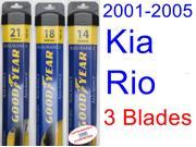 2001-2005 Kia Rio Replacement Wiper Blade Set/Kit (Set of 3 Blades) (Goodyear Wiper Blades-Assurance) (2002,2003,2004)