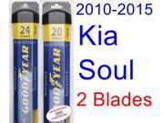 2010-2015 Kia Soul Replacement Wiper Blade Set/Kit (Set of 2 Blades) (Goodyear Wiper Blades-Assurance) (2011,2012,2013,2014)