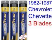 1982-1987 Chevrolet Chevette Replacement Wiper Blade Set/Kit (Set of 3 Blades) (Goodyear Wiper Blades-Assurance) (1983,1984,1985,1986)