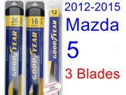 2012-2015 Mazda 5 Replacement Wiper Blade Set/Kit (Set of 3 Blades) (Goodyear Wiper Blades-Assurance) (2013,2014)