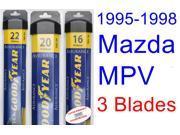 1995-1998 Mazda MPV Replacement Wiper Blade Set/Kit (Set of 3 Blades) (Goodyear Wiper Blades-Assurance) (1996-1997)
