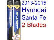2013-2015 Hyundai Santa Fe Replacement Wiper Blade Set/Kit (Set of 2 Blades) (Goodyear Wiper Blades-Hybrid) (2014)