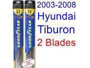 2003-2008 Hyundai Tiburon Replacement Wiper Blade Set/Kit (Set of 2 Blades) (Goodyear Wiper Blades-Hybrid) (2004,2005,2006,2007)