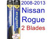 2008-2013 Nissan Rogue Replacement Wiper Blade Set/Kit (Set of 2 Blades) (Goodyear Wiper Blades-Hybrid) (2009,2010,2011,2012)