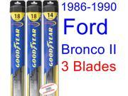 1986-1990 Ford Bronco II Replacement Wiper Blade Set/Kit (Set of 3 Blades) (Goodyear Wiper Blades-Hybrid) (1987,1988,1989)