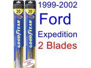 1999-2002 Ford Expedition Replacement Wiper Blade Set/Kit (Set of 2 Blades) (Goodyear Wiper Blades-Hybrid) (2000,2001)