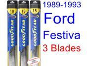 1989-1993 Ford Festiva Replacement Wiper Blade Set/Kit (Set of 3 Blades) (Goodyear Wiper Blades-Hybrid) (1990,1991,1992)