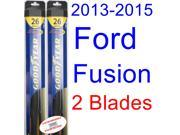 2013-2015 Ford Fusion Replacement Wiper Blade Set/Kit (Set of 2 Blades) (Goodyear Wiper Blades-Hybrid) (2014)