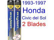 1993-1997 Honda Civic del Sol Replacement Wiper Blade Set/Kit (Set of 2 Blades) (Goodyear Wiper Blades-Hybrid) (1994,1995,1996)