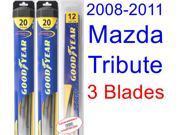 2008-2011 Mazda Tribute Replacement Wiper Blade Set/Kit (Set of 3 Blades) (Goodyear Wiper Blades-Hybrid) (2009,2010)