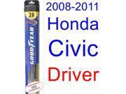 2008-2011 Honda Civic Si Coupe Wiper Blade (Driver) (Goodyear Wiper Blades-Hybrid) (2009,2010)