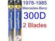 1978-1985 Mercedes-Benz 300D Replacement Wiper Blade Set/Kit (Set of 2 Blades) (Goodyear Wiper Blades-Hybrid) (1979,1980,1981,1982,1983,1984)