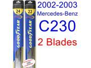 2002-2003 Mercedes-Benz C230 Replacement Wiper Blade Set/Kit (Set of 2 Blades) (Goodyear Wiper Blades-Hybrid)