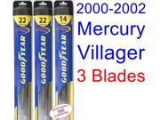 2000-2002 Mercury Villager Replacement Wiper Blade Set/Kit (Set of 3 Blades) (Goodyear Wiper Blades-Hybrid) (2001)