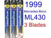 1999 Mercedes-Benz ML430 Replacement Wiper Blade Set/Kit (Set of 3 Blades) (Goodyear Wiper Blades-Hybrid)