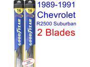 1989-1991 Chevrolet R2500 Suburban Replacement Wiper Blade Set/Kit (Set of 2 Blades) (Goodyear Wiper Blades-Hybrid) (1990)
