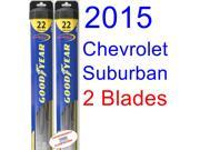 2015 Chevrolet Suburban Replacement Wiper Blade Set/Kit (Set of 2 Blades) (Goodyear Wiper Blades-Hybrid)