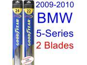 2009-2010 BMW 5-Series Replacement Wiper Blade Set/Kit (Set of 2 Blades) (Goodyear Wiper Blades-Hybrid)
