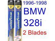 1996-1998 BMW 328i Replacement Wiper Blade Set/Kit (Set of 2 Blades) (Goodyear Wiper Blades-Hybrid) (1997)