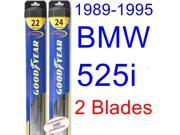 1989-1995 BMW 525i Replacement Wiper Blade Set/Kit (Set of 2 Blades) (Goodyear Wiper Blades-Hybrid) (1990,1991,1992,1993,1994)