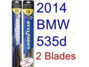 2014 BMW 535d Replacement Wiper Blade Set/Kit (Set of 2 Blades) (Goodyear Wiper Blades-Hybrid)