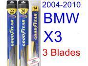 2004-2010 BMW X3 Replacement Wiper Blade Set/Kit (Set of 3 Blades) (Goodyear Wiper Blades-Hybrid) (2005,2006,2007,2008,2009)
