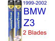 1999-2002 BMW Z3 M Coupe Replacement Wiper Blade Set/Kit (Set of 2 Blades) (Goodyear Wiper Blades-Hybrid) (2000,2001)