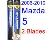 2006-2010 Mazda 5 Replacement Wiper Blade Set/Kit (Set of 2 Blades) (Goodyear Wiper Blades-Hybrid) (2007,2008,2009)