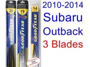 2010-2014 Subaru Outback Replacement Wiper Blade Set/Kit (Set of 3 Blades) (Goodyear Wiper Blades-Hybrid) (2011,2012,2013)