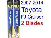 2007-2014 Toyota FJ Cruiser Replacement Wiper Blade Set/Kit (Set of 2 Blades) (Goodyear Wiper Blades-Hybrid) (2008,2009,2010,2011,2012,2013)