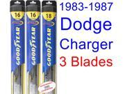 1983-1987 Dodge Charger Replacement Wiper Blade Set/Kit (Set of 3 Blades) (Goodyear Wiper Blades-Hybrid) (1984,1985,1986)