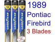 1989 Pontiac Firebird Trans Am GTA SE Replacement Wiper Blade Set/Kit (Set of 3 Blades) (Goodyear Wiper Blades-Hybrid) 9SIA89T36Z3652