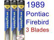 1989 Pontiac Firebird Trans Am GTA SE Replacement Wiper Blade Set/Kit (Set of 3 Blades) (Goodyear Wiper Blades-Hybrid) 9SIA89T36Z3652