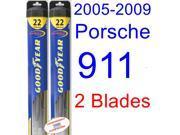 2005-2009 Porsche 911 Replacement Wiper Blade Set/Kit (Set of 2 Blades) (Goodyear Wiper Blades-Hybrid) (2006,2007,2008)