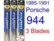 1985-1991 Porsche 944 Replacement Wiper Blade Set/Kit (Set of 3 Blades) (Goodyear Wiper Blades-Hybrid) (1986,1987,1988,1989,1990)