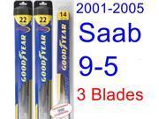 2001-2005 Saab 9-5 Replacement Wiper Blade Set/Kit (Set of 3 Blades) (Goodyear Wiper Blades-Hybrid) (2002,2003,2004)