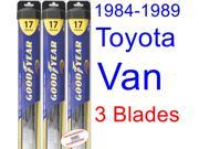 1984-1989 Toyota Van Replacement Wiper Blade Set/Kit (Set of 3 Blades) (Goodyear Wiper Blades-Hybrid) (1985,1986,1987,1988)