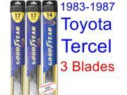 1983-1987 Toyota Tercel Wagon Replacement Wiper Blade Set/Kit (Set of 3 Blades) (Goodyear Wiper Blades-Hybrid) (1984,1985,1986)