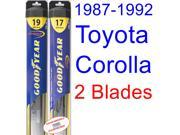 1987-1992 Toyota Corolla LE Replacement Wiper Blade Set/Kit (Set of 2 Blades) (Goodyear Wiper Blades-Hybrid) (1988,1989,1990,1991)