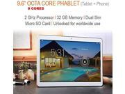 """9.6"""" 32GB [OCTA CORE] Android 4.4 KitKat 4G/3G Phablet (Tablet+Phone) w/ Bluetooth 4.0, Dual Camera's, SD Card Slot, Wi-Fi, 1280x800 IPS Display-Unlocked"""