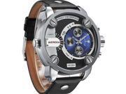 WEIDE WH3301 Men's Sports Leather Band Waterproof Oversize Quartz Analog Wristwatch - Black + Blue